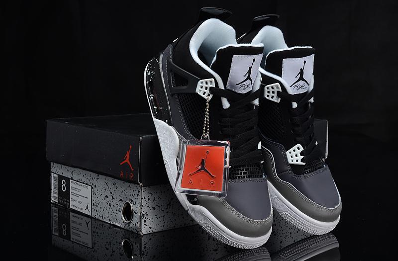 Air Jordan 4 Oreo Black Grey Shoes