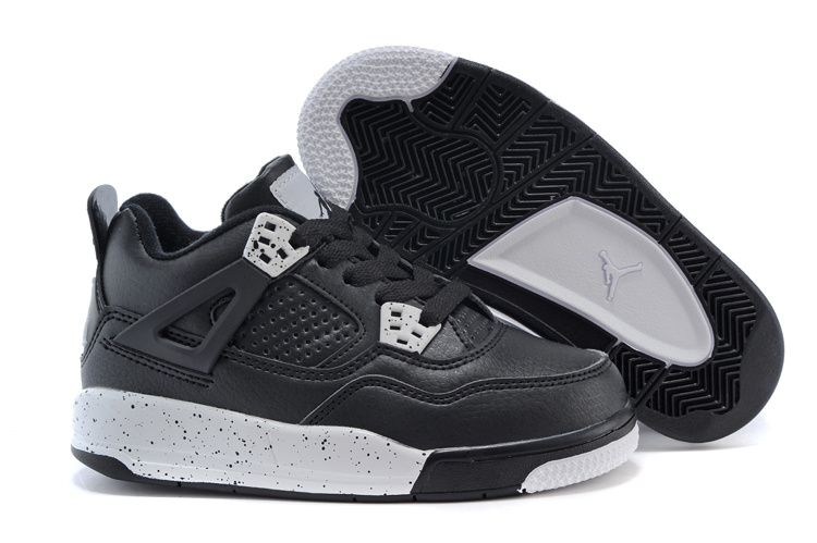 Air Jordan 4 Oreo Black White Shoes For Kids