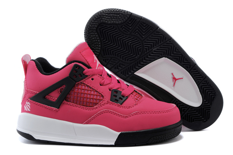 Air Jordan 4 Pink Black White Shoes For Kids