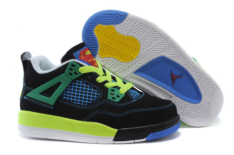 Air Jordan 4 Superman Black Blue Green Shoes For Kids