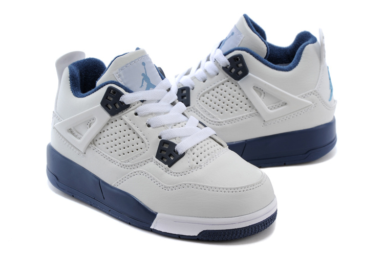 Air Jordan 4 White Blue Shoes For Kids