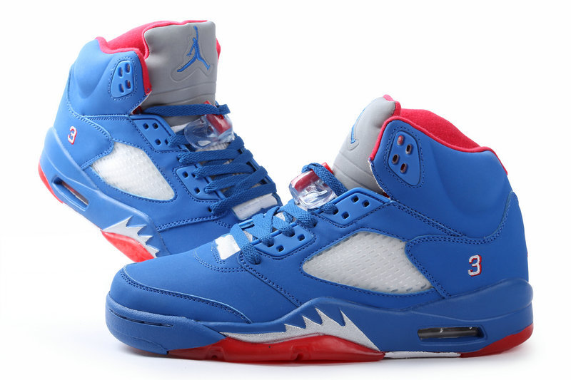 Jordan 5 All Blue Red Shoes Authentic Air Jordan 5 All Blue Red Shoes ...