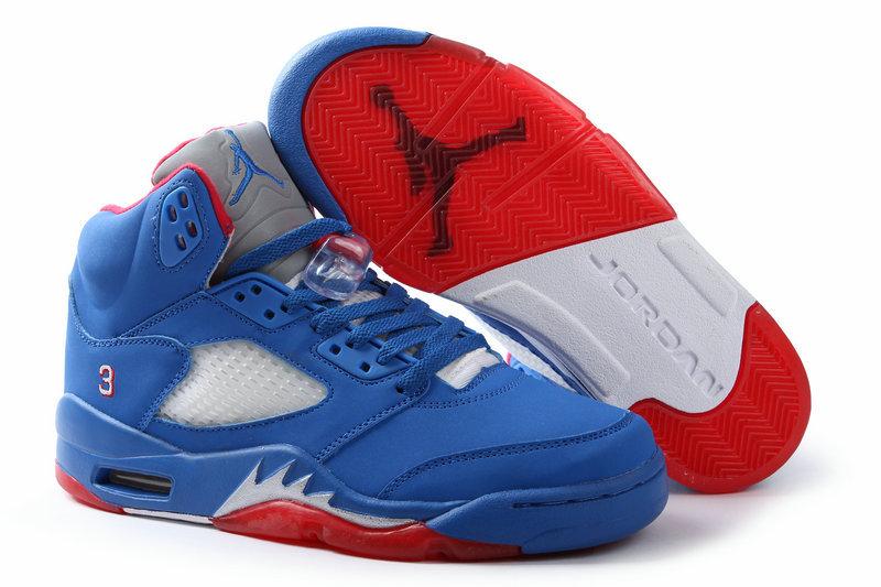Air Jordan 5 All Blue Red Shoes