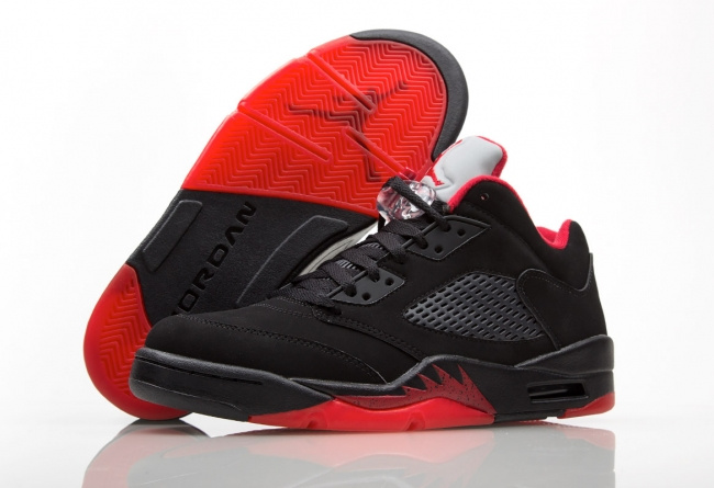 Air Jordan 5 Low Alternate Black Red Shoes
