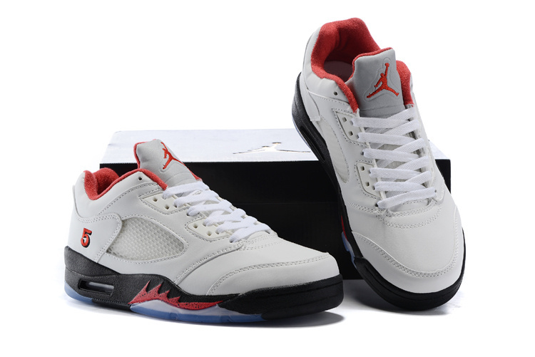Air Jordan 5 Low White Black Red Shoes