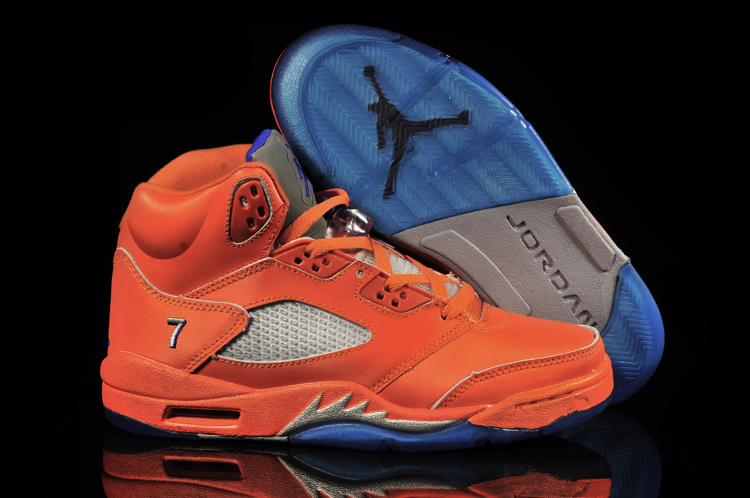 Air Jordan 5 Orange Red Blue Shoes