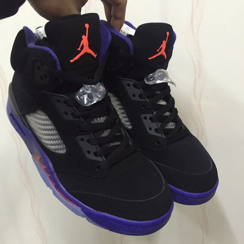 Women Air Jordan 5 Retro Raptors Black Purple Shoes