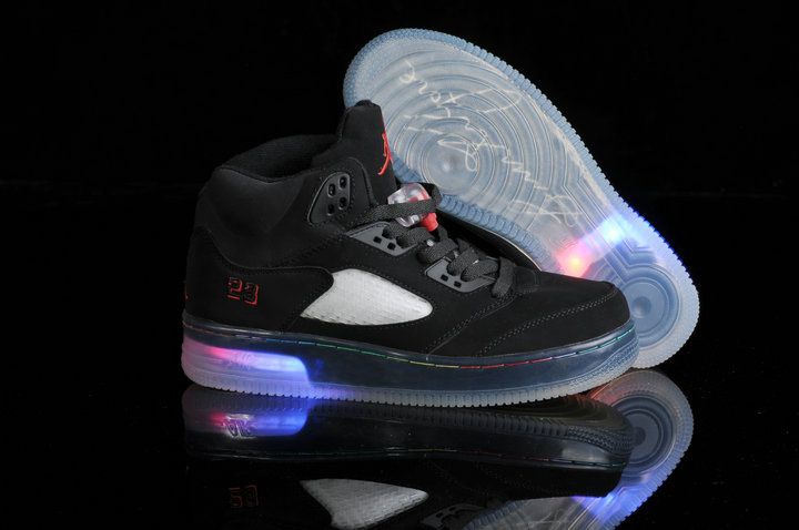Special Jordan 5 Shine Sole All Black Shoes