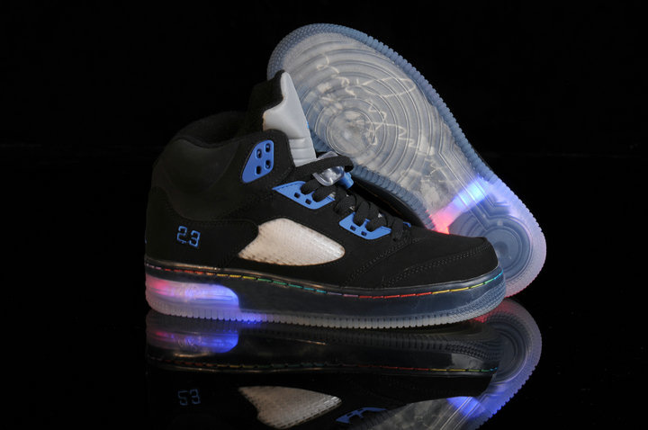 Special Jordan 5 Shine Sole Black Blue Shoes