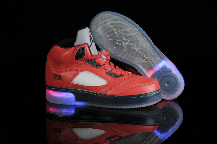 Special Jordan 5 Shine Sole Black Red Shoes