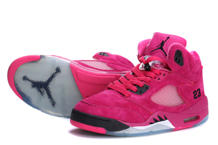 Air Jordan 5 Suede Pink Black For Women