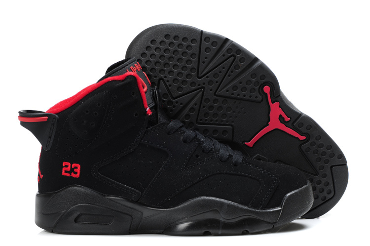 Air Jordan 6 Black Red For Kids