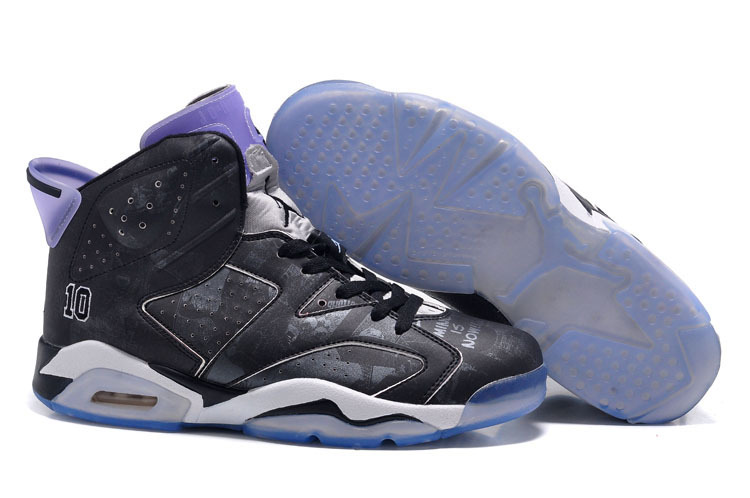 New Women Jordan 6 Slam Dunk Black Purple