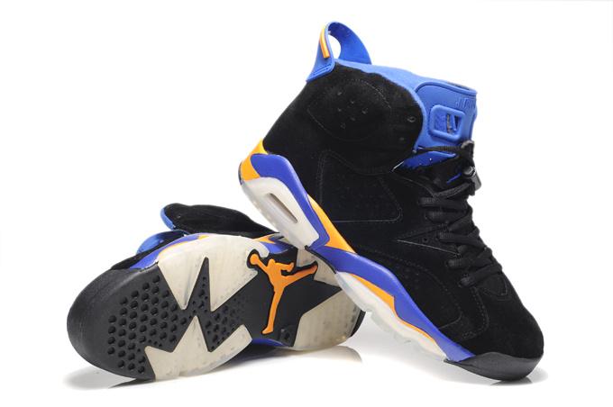 New Air Jordan 6 Suede Black Blue White Shoes