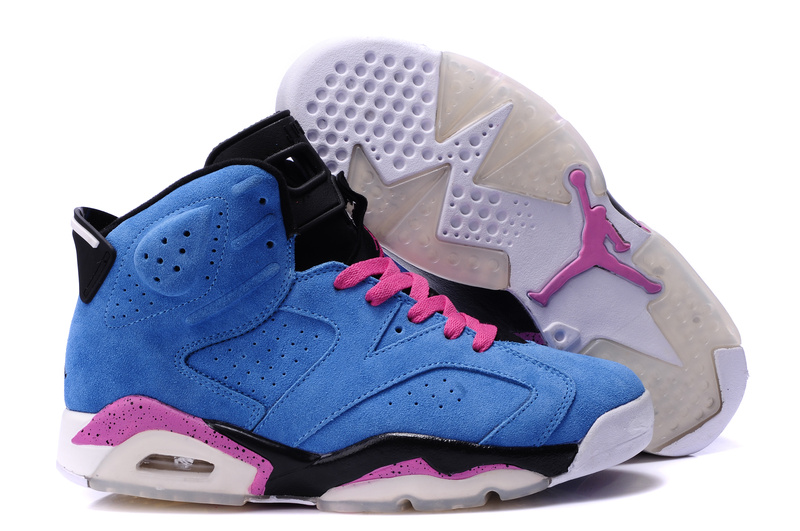 New Air Jordan 6 Suede Blue Pink Black Shoes