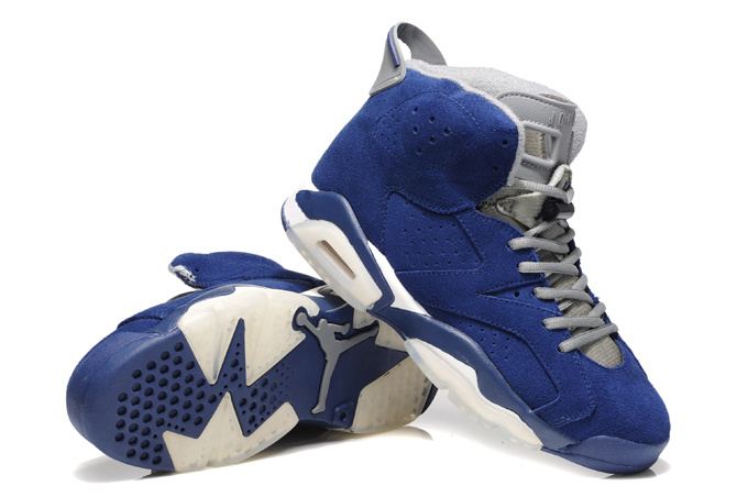 New Air Jordan 6 Suede Blue White Shoes
