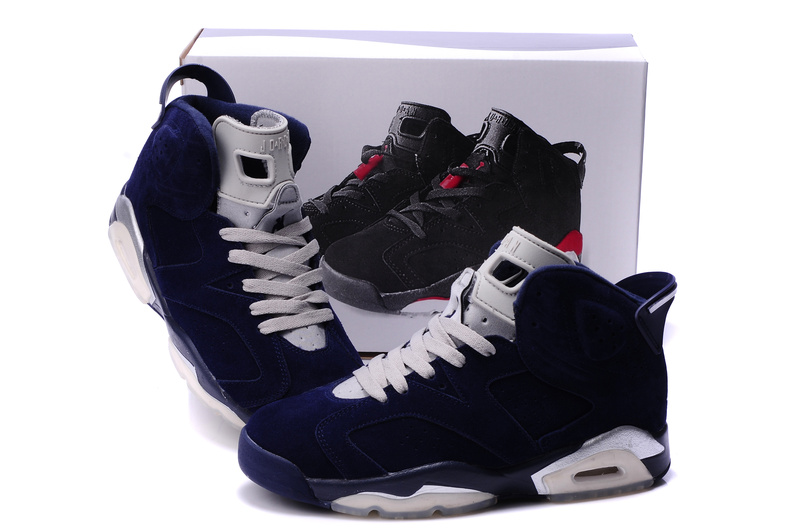 New Air Jordan 6 Suede Dark Blue White Shoes
