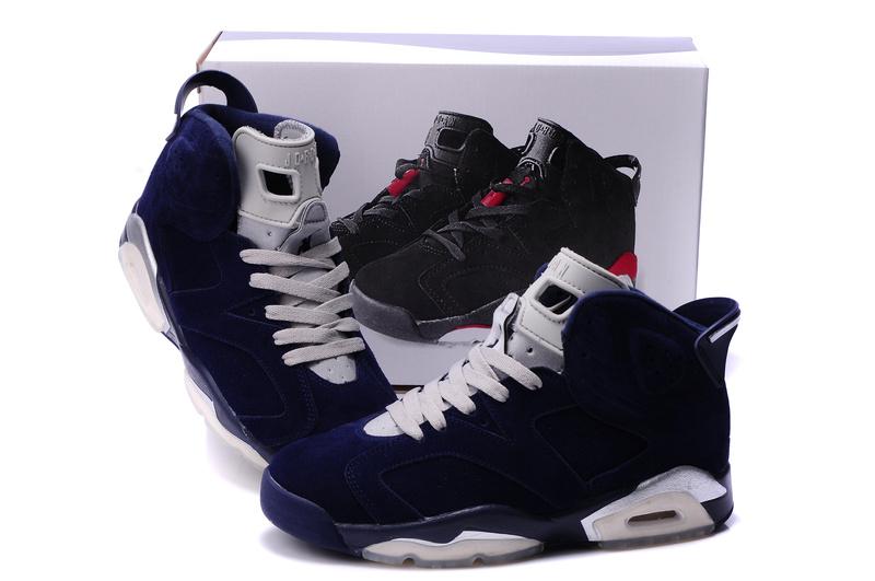 New Air Jordan 6 Suede Dark Blue White Shoes