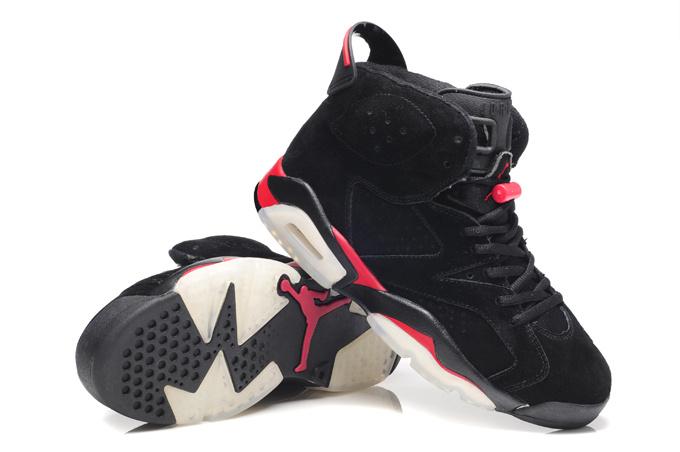 New Air Jordan 6 Suede Dark black Red Shoes