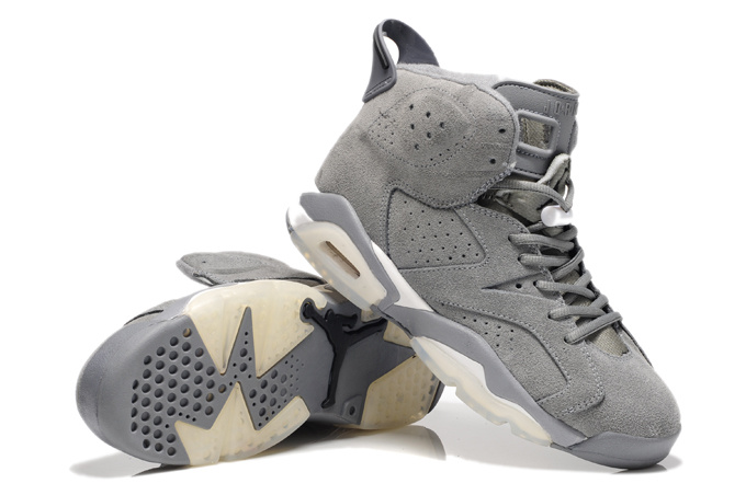 New Air Jordan 6 Suede Grey White Shoes