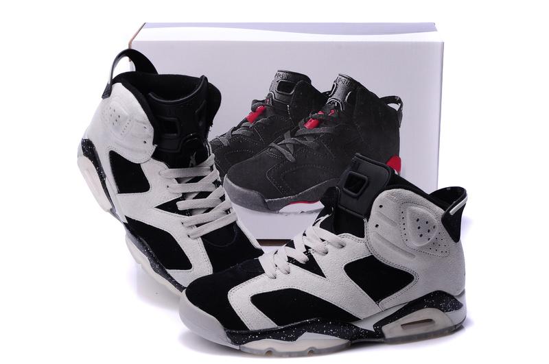 New Air Jordan 6 Suede White Black Grey Shoes