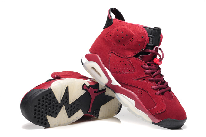 New Air Jordan 6 Suede Wine Red White Shoes