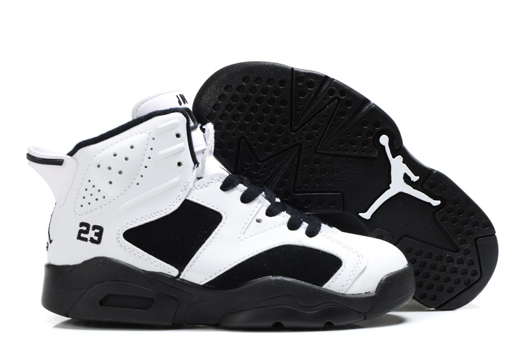 Air Jordan 6 White Black For Kids