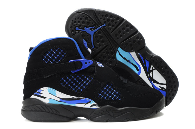 Air Jordan 8 Black Blue For Kids