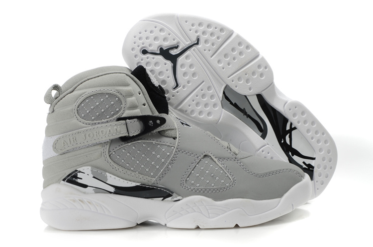 Air Jordan 8 Grey White For Kids