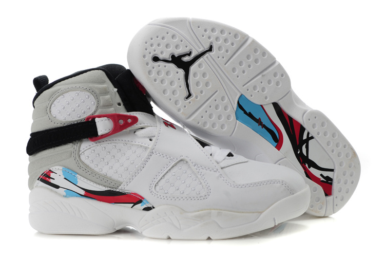 Air Jordan 8 White Red For Kids