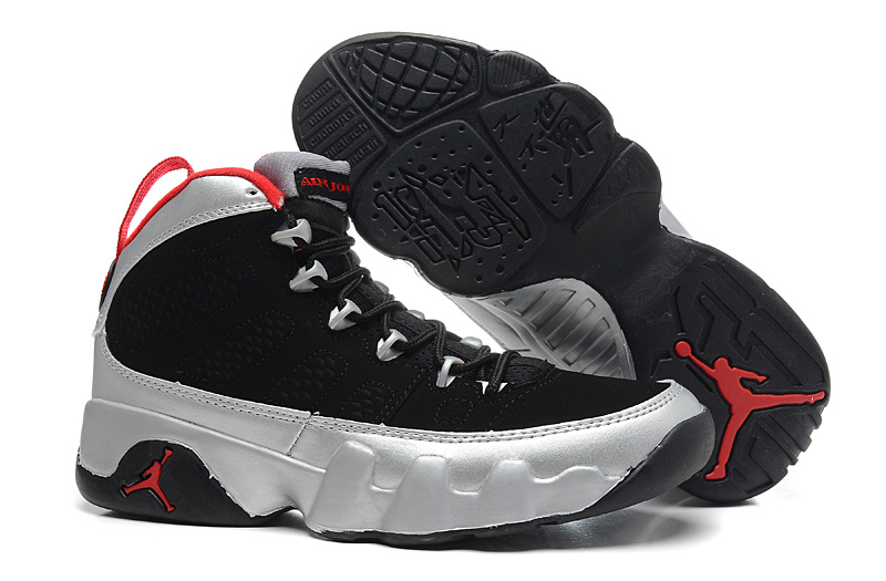 Air Jordan 9 Black Silver Red For Women