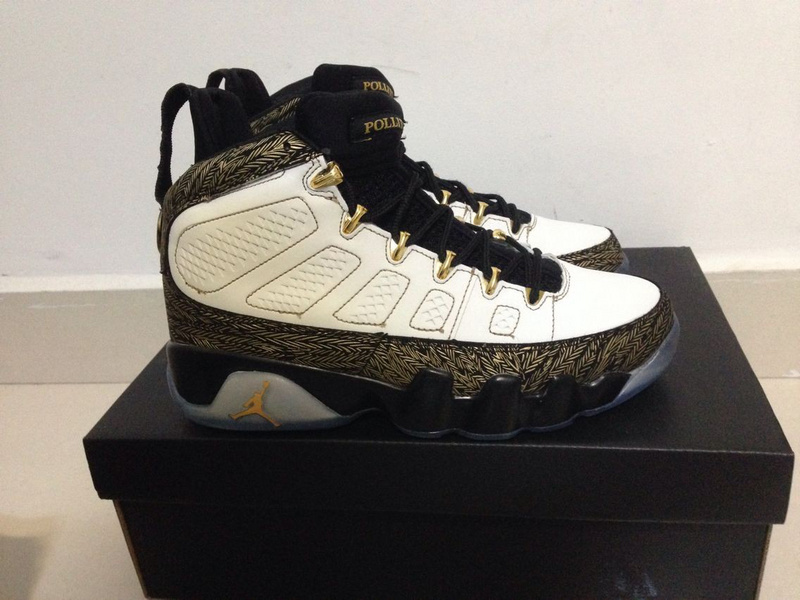 Air Jordan 9 Doernbecher White Gold Black Shoes