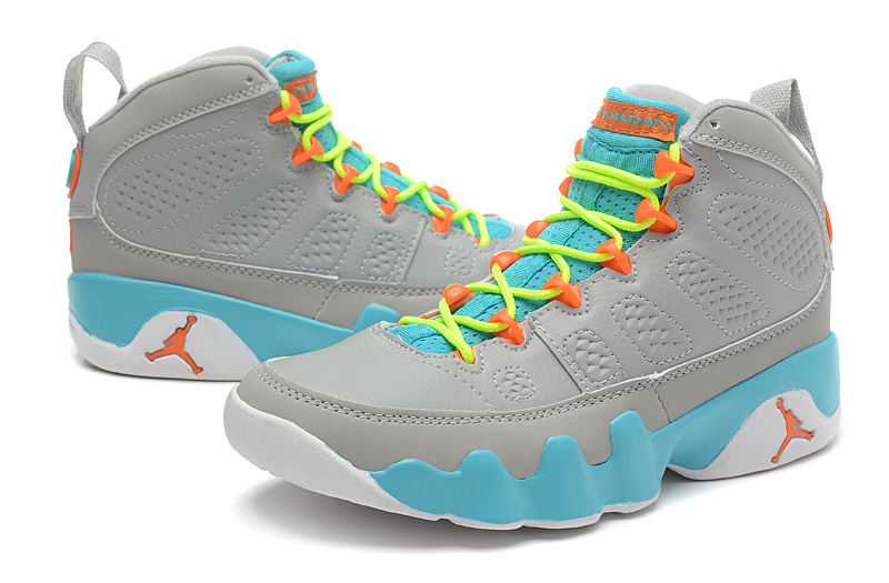 Air Jordan 9 Grey Blue Yellow Orange For Women