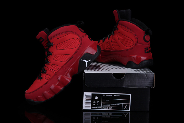 Air Jordan 9 Red Black For Kids