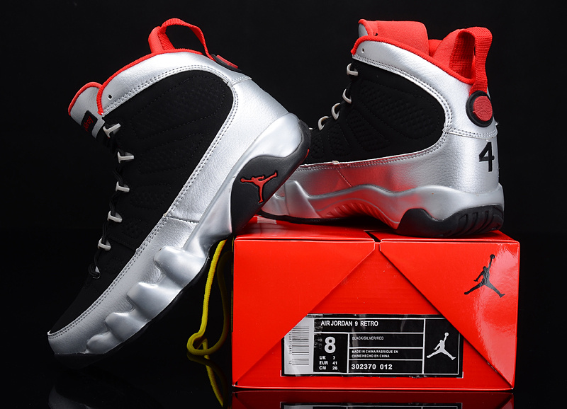 Reissued Air Jordan 9 Kilroys Black Silver Red Shoes