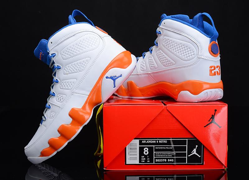 Reissued Air Jordan 9 White Blue Orange Shoes