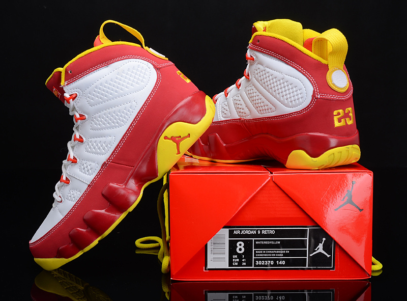 Reissued Air Jordan 9 White Red Yellow Shoes