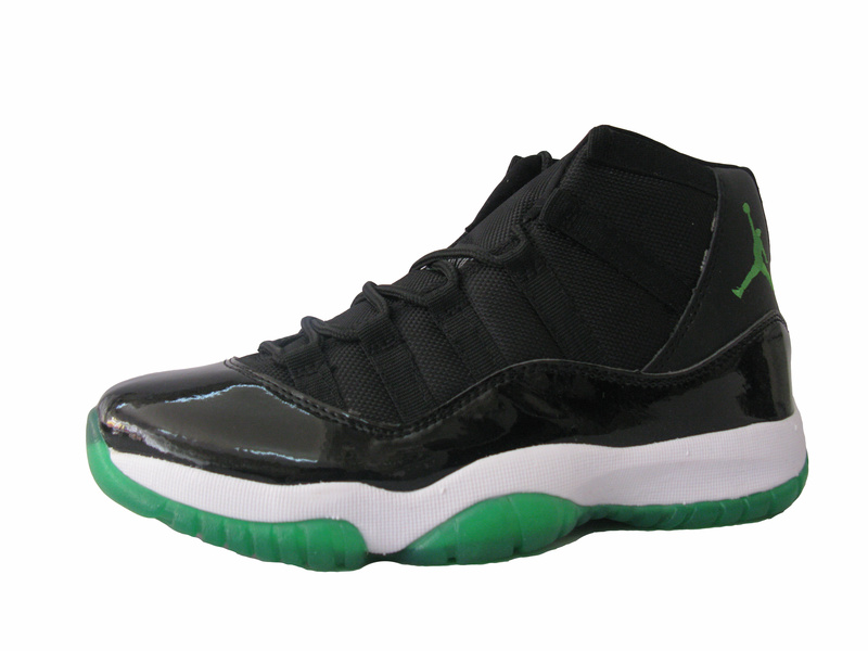 Jordan 11 Retro Black White Green Shoes