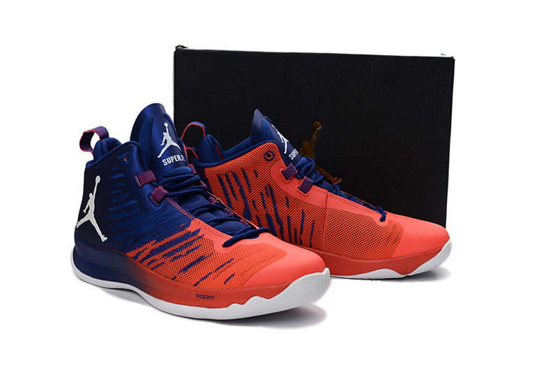 Air Jordan Super Fly X Blue Reddish Orange White Shoes