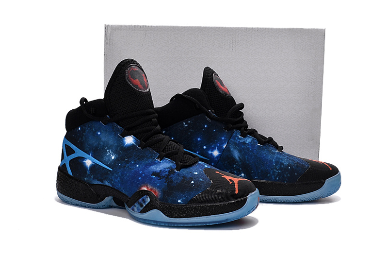 Air Jordan XXX Sky Blue Stars Black Orange Shoes