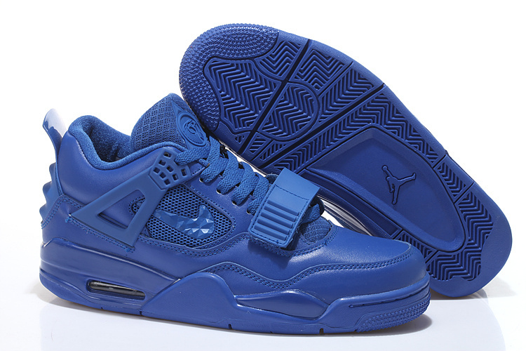 All Blue Air Jordan 4 Shoes With Strap