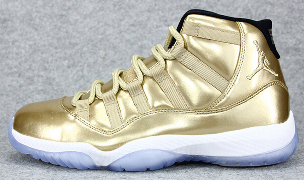 All Gold White Jordan 11 Retro Shoes