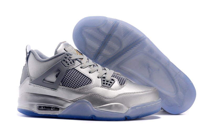 Original All Silver Blue Sole Air Jordan 4 Shoes
