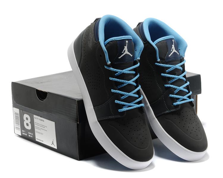 Casual Jordan 1 Black Blue Shoes