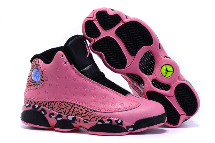 Cheetah Print Jordan 13 Pink Black Shoes For Women