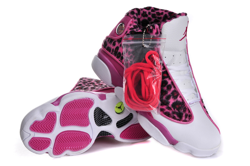 Cheetah Print Jordan 13 White Pink For Women