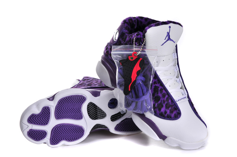 Cheetah Print Jordan 13 White Purple For Women