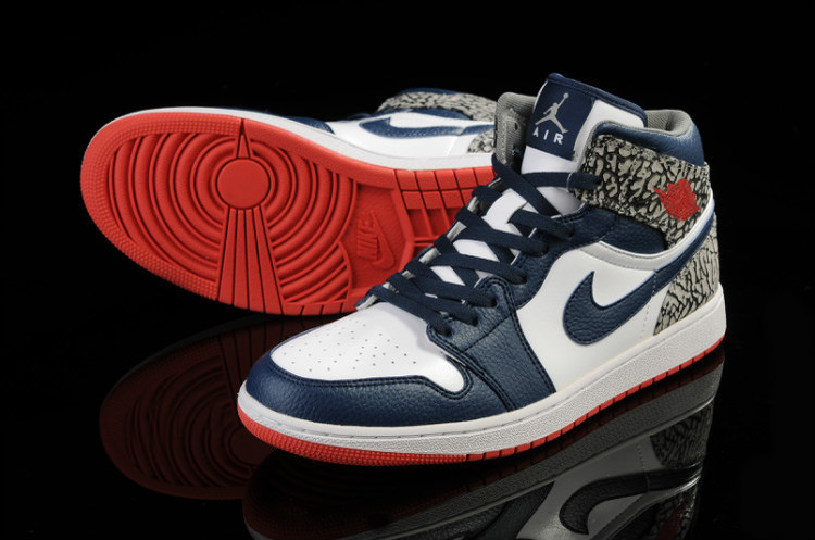 Classic Crack Jordan 1 Independence Day White Blue Red Shoes