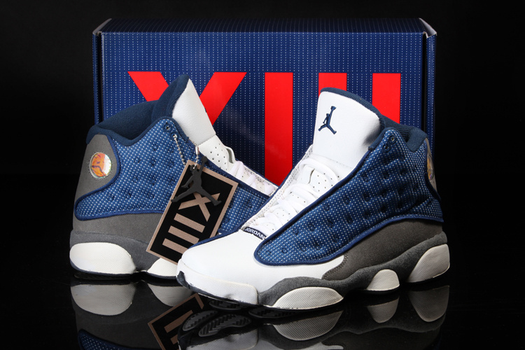 Cool Summer Air Jordan 13 White Blue Grey Shoes