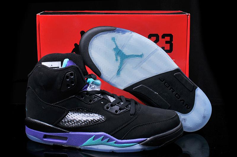 New Arrival Hardback Air Jordan 5 Black Purple Shoes